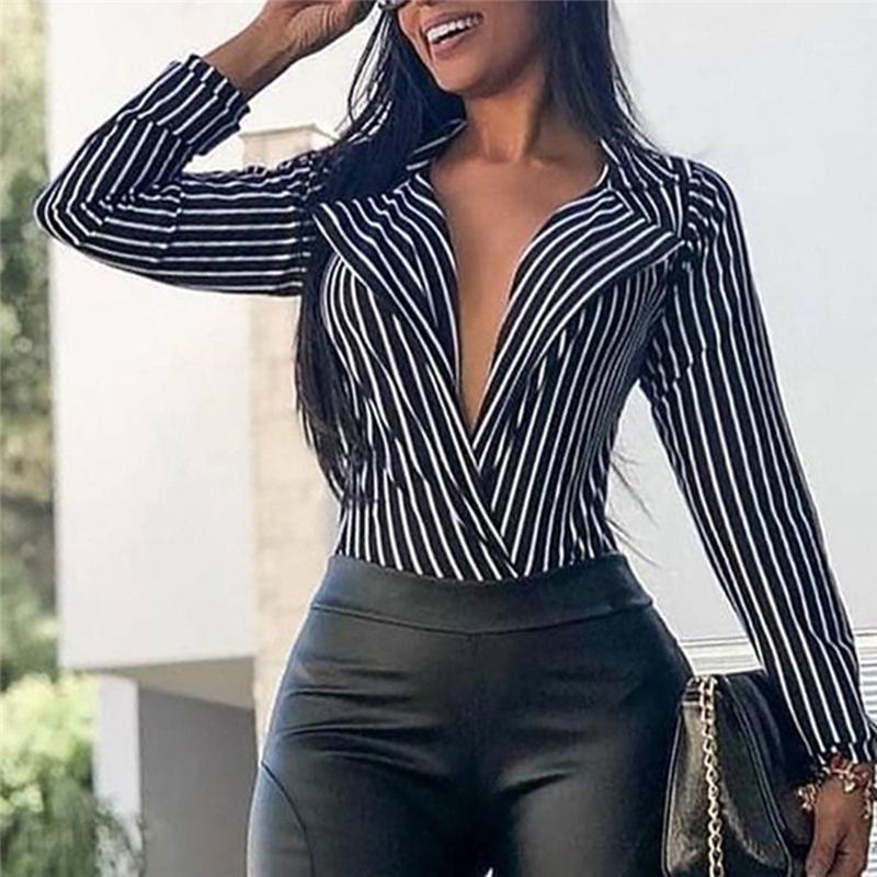 Женские повседневные вершины полосатой блузки рубашка глубокие V-образные шейные рубашки с длинным рукавом блузка Chemisier Femme Blusas Mujer de Moda1