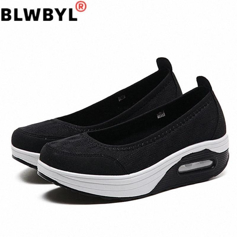 2020 Summer Femmes Platform Chaussures Chaussures Femme Dame Casual Casual Chaussures Simples Slip sur confort Dentelle Noir Tissu Chaussures Zapatos de Mujer # 7u9e