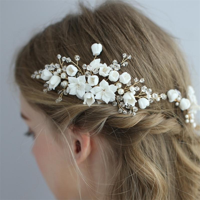 Fleur d'argile délicate Bridal Cheveux de mariée à la main Bijoux de mariée Bijoux Bobby Pins Ensemble Brides Hair Accessoires Y200409