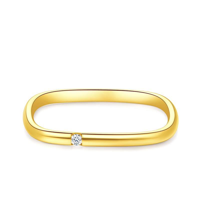 Zhoujia tiktok square anel s925 prata ouro-banhado a ouro diamante pequeno anel quadrado incrustado zircônia diamante malha vermelho casal casal anel