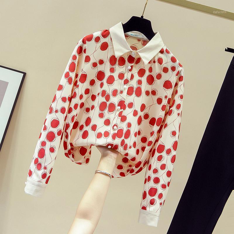 New Outono Mulheres Abaixo De Collar Manga Longa Bolinhas Chiffon Camisa Senhoras Feminino All-Match Camisas Blusa Tops A37071