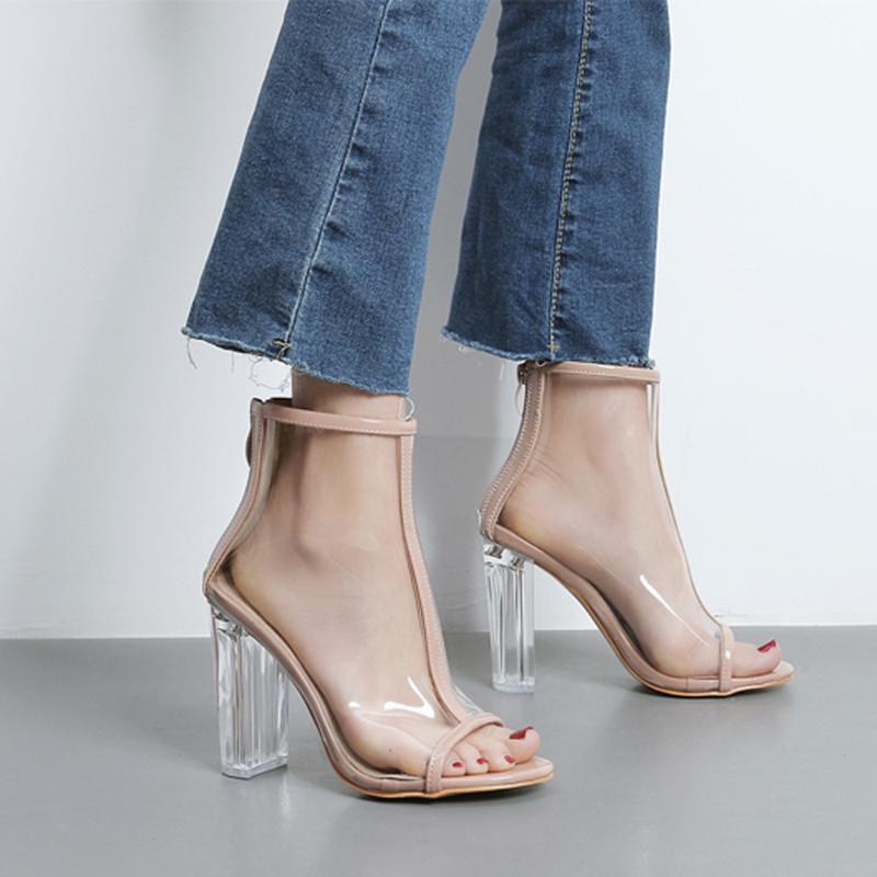 Zapatos de vestir 2121 Mujeres Verano Transparente Peep Toe Plastic Fashion High Heel Sandals Sexy Stiletto Fiesta Boda Khaki Black