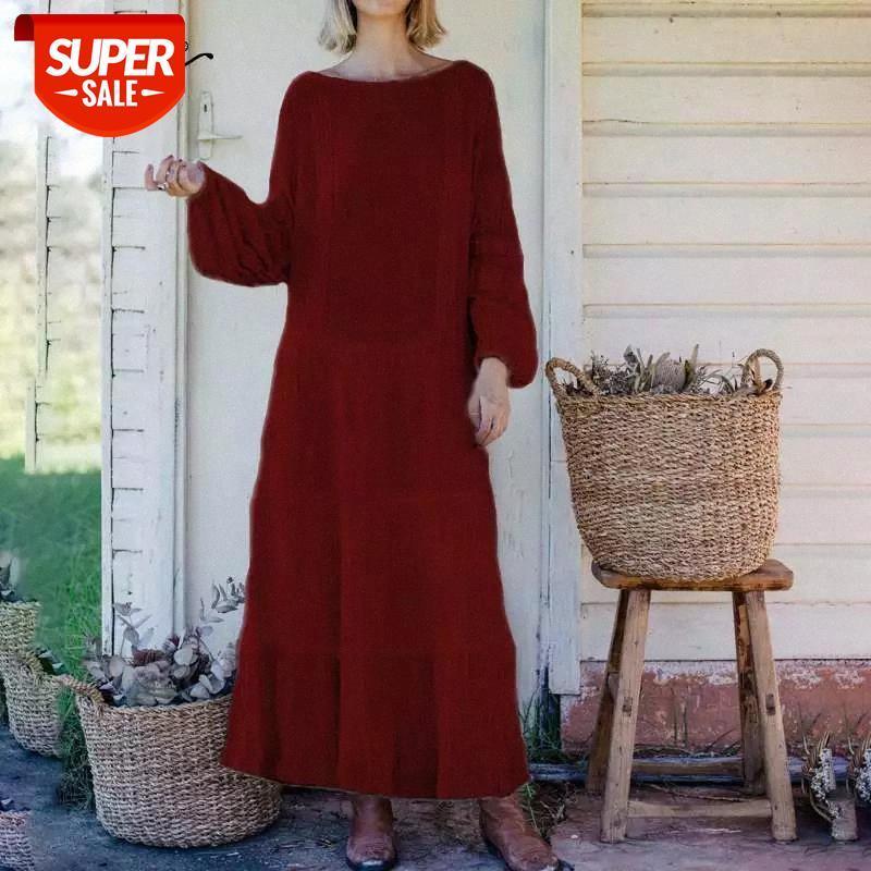 Celmia 2021 donne cuciture in pizzo maxi vestito moda manica lunga bohémien ruffles sundress casual allentato partito allentato vestidos Robe 5XL # E09G