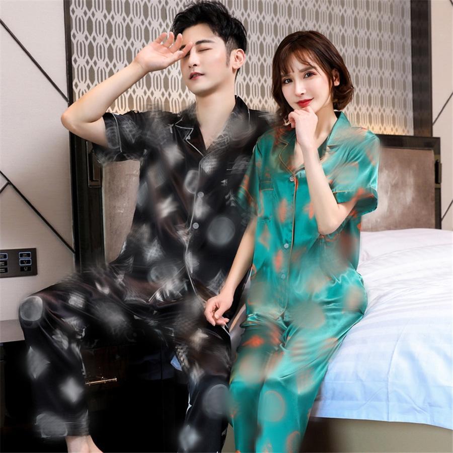 Moda Unisex Yaz Ipek Çiçek Baskılı Pijama Exquisite Gece Rahat Kısa Kollu Pijama Setleri Moda Çift Çiçek Baskılı Uyku # 719