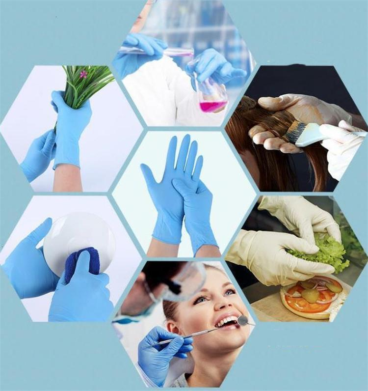 FactoryZTFMNEW Nitrilo desechable Látex 3 tipos de especificaciones opcional anti-patín anti-ácido B Guantes de goma guantes de limpieza