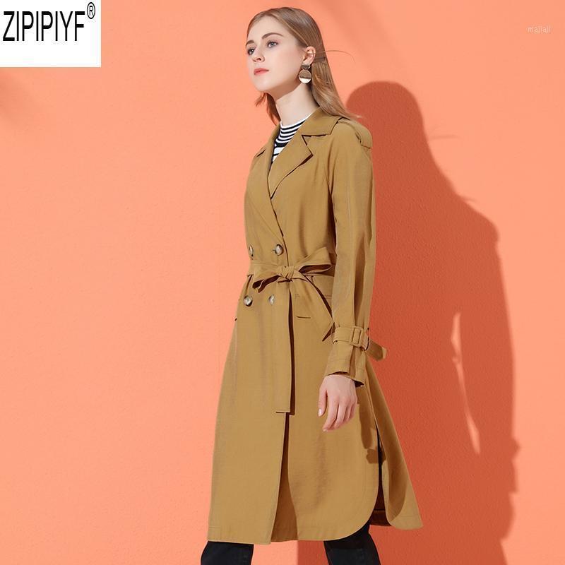 Herbst einstellbare Taille Mid-Long Trenchcoat Frauen 2018 Neue Mode Umdrehende Kragen Langarm Solid Windjacke Weibliche C21301