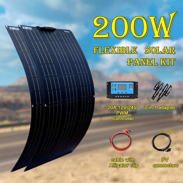 2 ADET 100 W Güneş Paneli Kiti 200 Watt Panneau Solaire Kontrolör Ile Esnek 12 V 24 V Pil Araba RV Ev Şarj Için