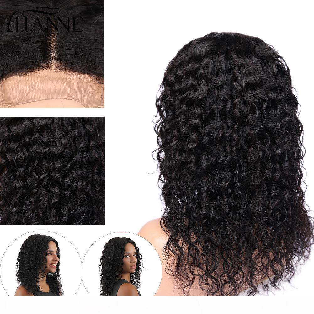Hanne Capelli 4 * 4 Chiusura del pizzo L m R Particolato Parrucche Brasiliane Remy Parrucche Glueless Wave Wave Pizzo Parrucca per capelli umani per le donne nere