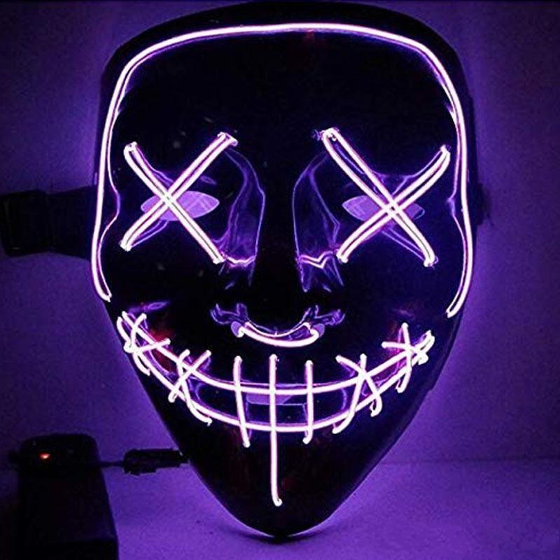Partido completo Halloween Up Máscaras Máscaras LED Face Light Funny Masks El Eire Mark Brillo En Oscuro Para Festival Cosplay Night Club KKF2230