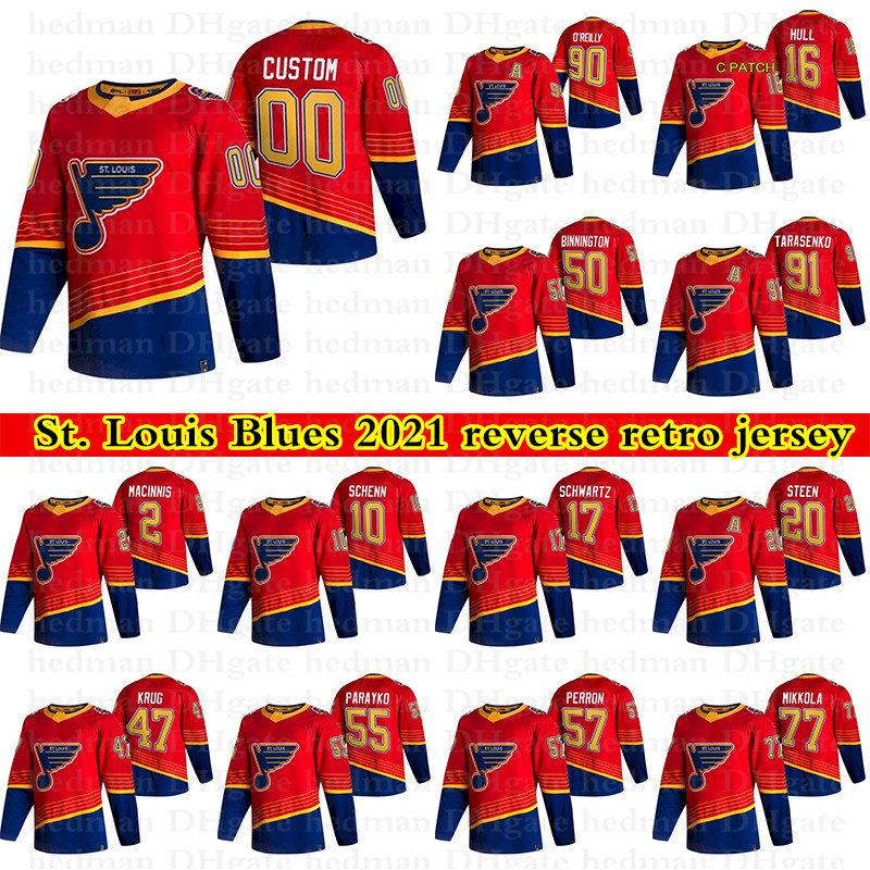 2021 St Louis Blues Reverse Retro Jerseys 91 Tarasenko 50 Binnington 99 Gretzky 90 Ryan O'Reilly Personalizza qualsiasi numero Qualunque nome Hockey Jersey