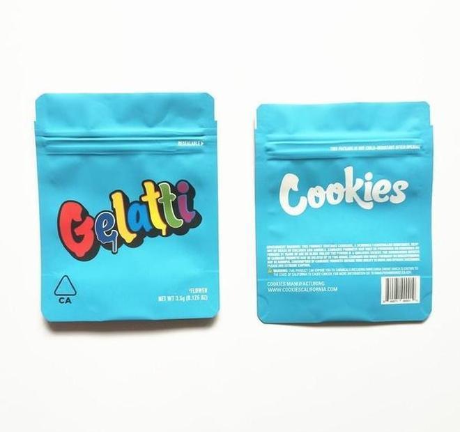 Bleu 420 fermeture à glissière 3.5g odeur wmthb sacs sacs baggies Herb cadeau 8T mylar emballages SF sac édubles Cookies fleurs preuve plastique californie mylar afat