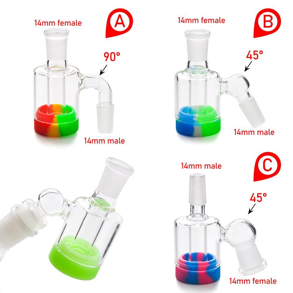 Catcher de cendres de verre avec pot de cire en silicone de 10 ml pour bangs de verre Tuyaux d'eau DAB Plateaux 14mm-14mm Joint Livraison gratuite