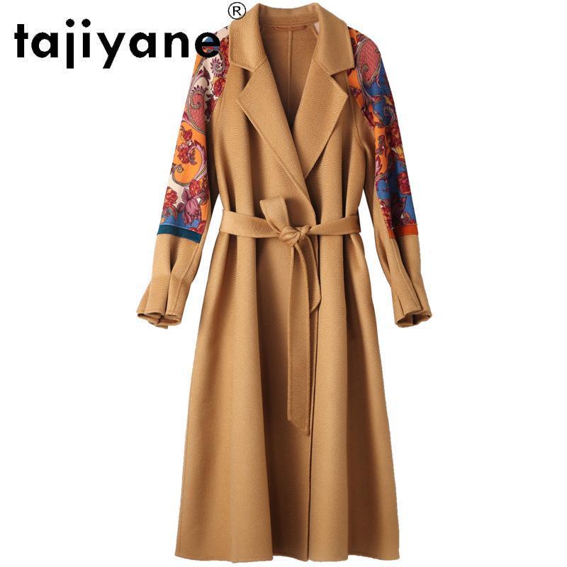 Mulheres de lã feminina Tajiyane Winter Casacos Mulheres 2021 Casaco de pele real Mulher 100% jaquetas de roupas femininas jaqueta longa Abrigo mujer TN1499