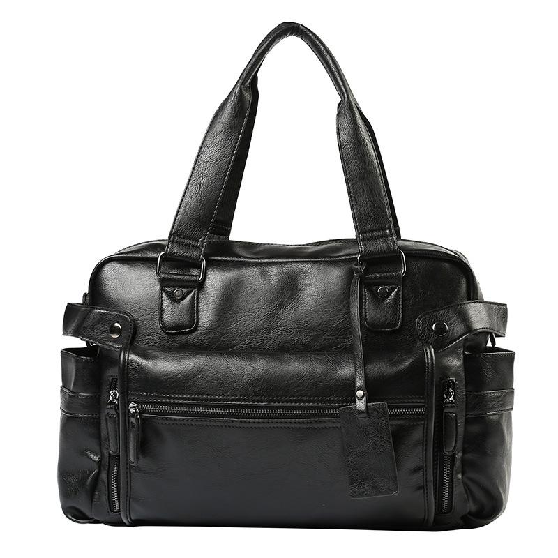 Weysfor Leather Briefcase Travel Suitcase Messenger Shoulder Bag Tote Multifunction Large Capacity Handbag Business Laptop Bags Q0112