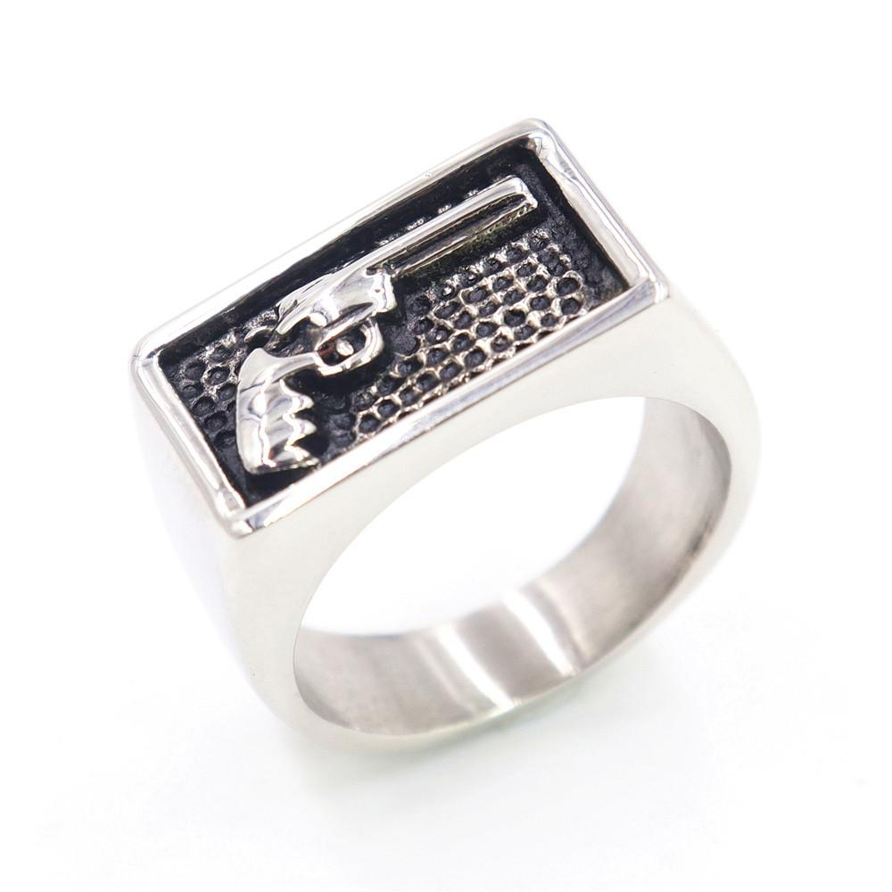 316 Stainless Steel Retro Silver Men's Fashion Punk Gothic Biker Gun Pistol Ring Jewelry Square Oblong Rectangle Shape Rings