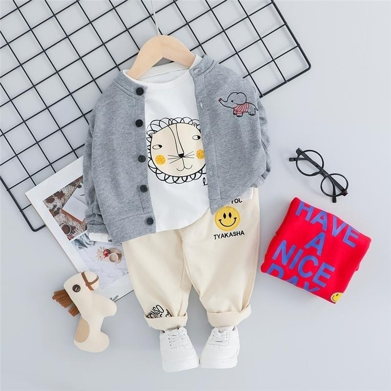 HYLKIDHUOSE Autumn Baby Boys Girls Clothing Sets Toddler Infant Clothes Suits Lion Coats T Shirt Pants Children Costume Y200829
