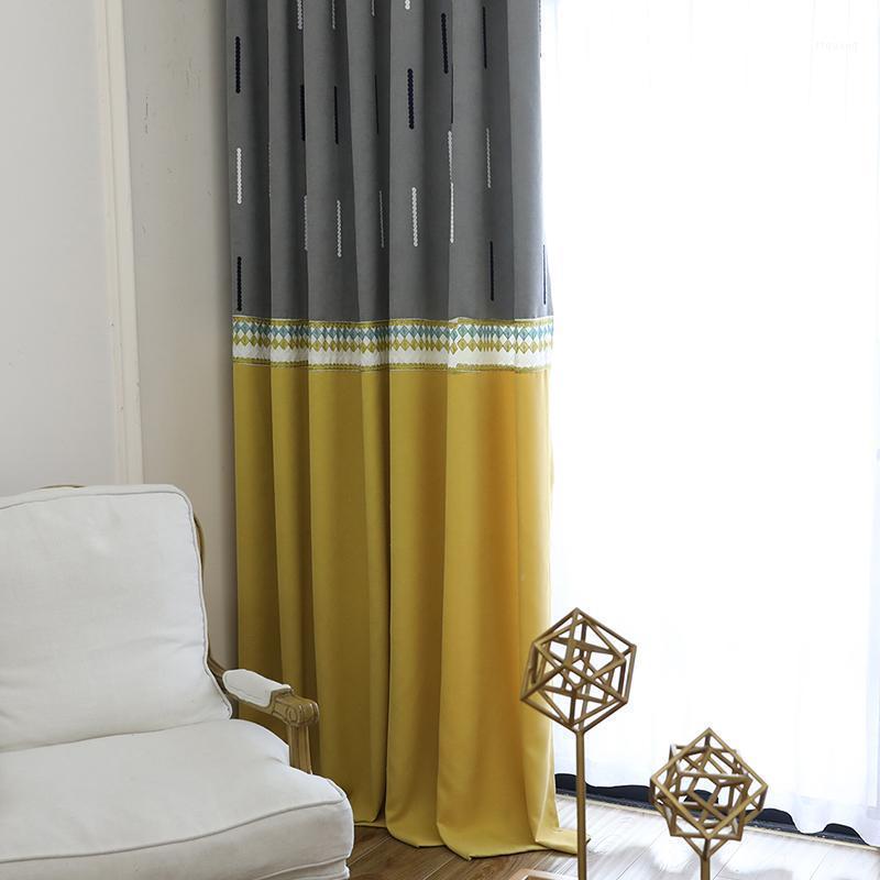 Cortinas de costura de rayas modernas para la sala de estar de lino gris gris cortés cortinas para la ventana de la ventana de la ventana de la ventana1