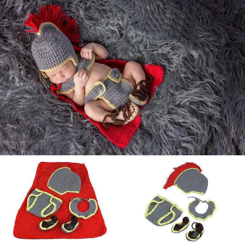 Caballero Diseño Recién nacido Crochet Punto Disfraz A Mano Hecho A Mano Muchachos Ropa de Niños 5 PCS Photo Props Studios Photography Accesorios para bebés