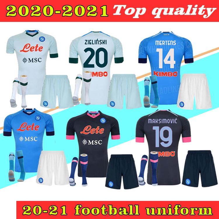 2021 Napoli Soccer Jersey Home Away Blue 2020 Nápoles Zielinski Hamsik Insigne Mertens Callejon Jogador Rog adulto + Kids Kit Camisas de futebol
