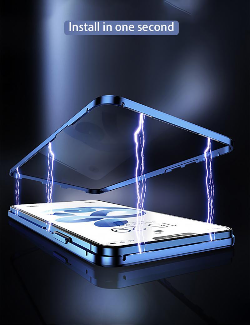 iPhone 11 12 미니 프로 Max XS Max XR 8 7 6 Plus SE 자석 금속 범퍼 안티 - 엿보는 덮개에 대한 개인 정보 보호 강화 유리