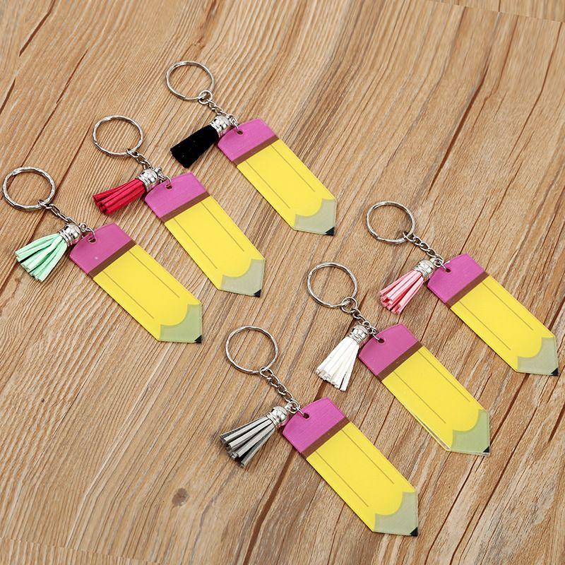 교사 열쇠 고리 연필 열쇠 고리 DIY 수제 술 펜던트 개인화 된 빈 아크릴 열쇠 고리 선물 선물 Kimter-L976FA