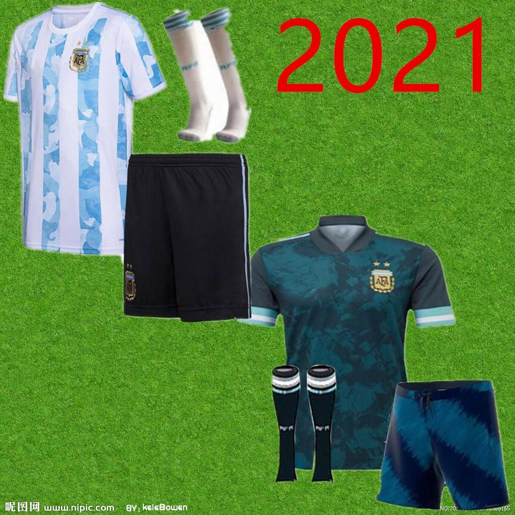 كوبا أمريكا 2020 2021 الطفل الأرجنتين كرة القدم جيرسي أطقم + جوارب 20 21 ميسي dybala مارادونا أغويرو دي ماريا هجوين لكرة القدم قمصان