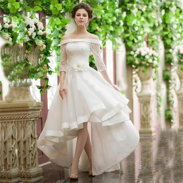 Estilo de la vendimia Vestidos de boda baja baja del hombro Cinturón de flores de media manga del hombro Cordón de encaje Orgena Frente corto Atrás Atrás Vestido nupcial Q1113