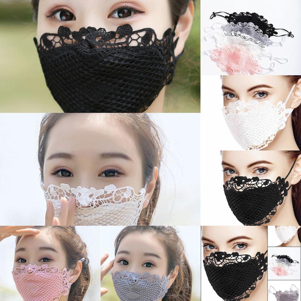 Máscara de encaje Paño Dusty Designer Cara Algodón Anti Negro Cara Blanco Mujeres Máscaras Lavable Fashion Larraop Ajustable Máscaras Reutilizables FY0Z