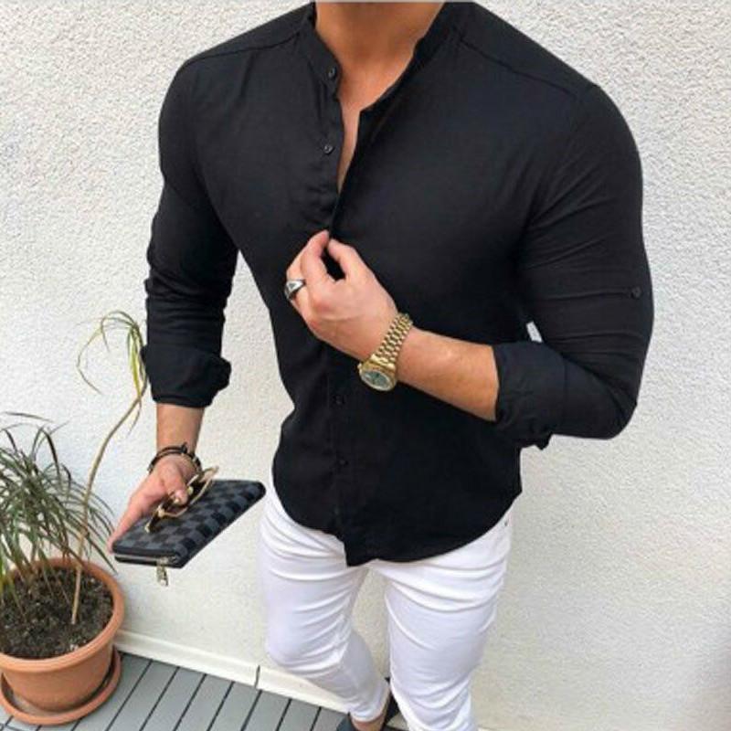 2020 Yeni Erkekler Gömlek Marka Erkek Yüksek Kalite Uzun Kollu Gömlek Rahat Hit Bluz Slim Fit Siyah Adam Elbise Gömlek X1214