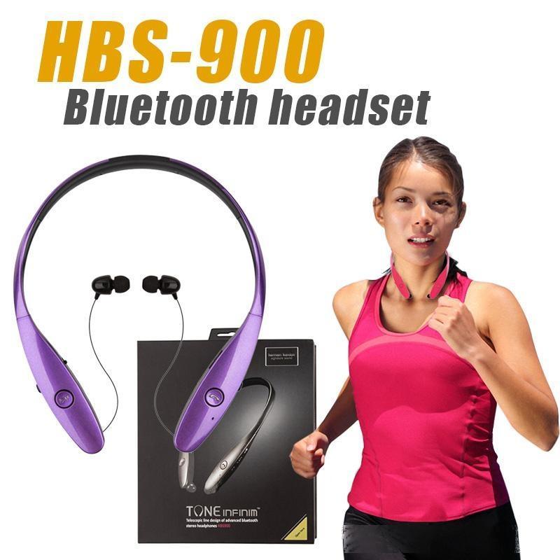 Hbs-900 Hifi estéreo Bluetooth Sem Fio Sports Fone de Ouvido Fone de Ouvido Estéreo In-Ear Tone + Neckband Headset de Alta Qualidade para iPhone x Samsung HTC