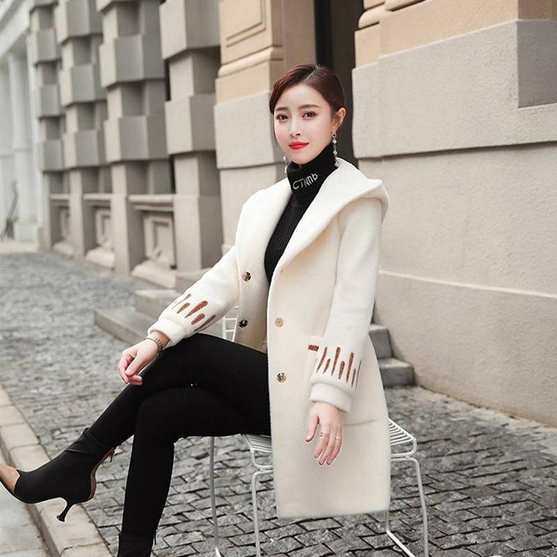 Женские куртки 2021 осень и зимняя норка пальто с капюшоном с капюшоном с капюшоном элегантный свободный размер S-3XL