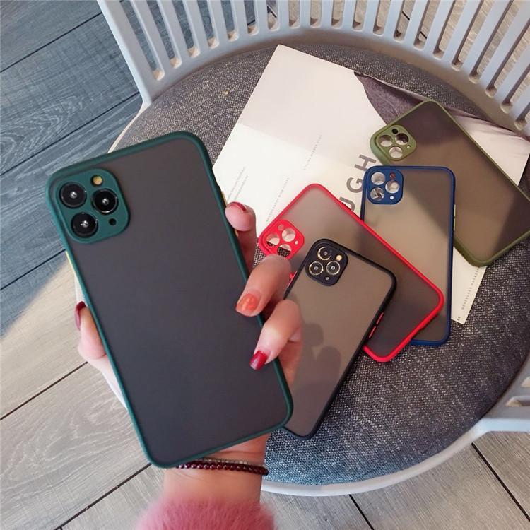 Proteção de câmera Capas de telefone para pára-choques para iphone 12 11 pro max xr xs x 8 7 6 s mais matte translúcida cobertura traseira à prova de choque