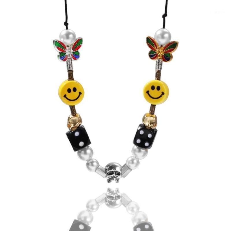 Venta caliente Pearl Cráneo Beads Collar Cerámica Cadena Híbrida Moda Roca Punk Punk Hombres y Joyas de Mujeres Regalos1