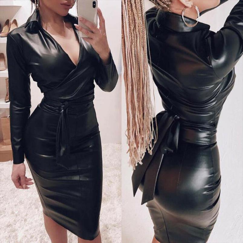 2019 sexy langarm hemd schwarzes kleid pu leder weibliche club party kurze kleid v ausschnitt schnelle up verband latex bodycon midi