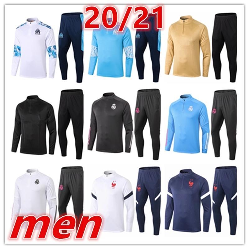 2020 2021 Commercio all'ingrosso uomini calcio Trainsuit Training Suit 20 21 Mens Football Kit Football Training Trainsuit TrackSuits Tute da jogging Giacca Chandal