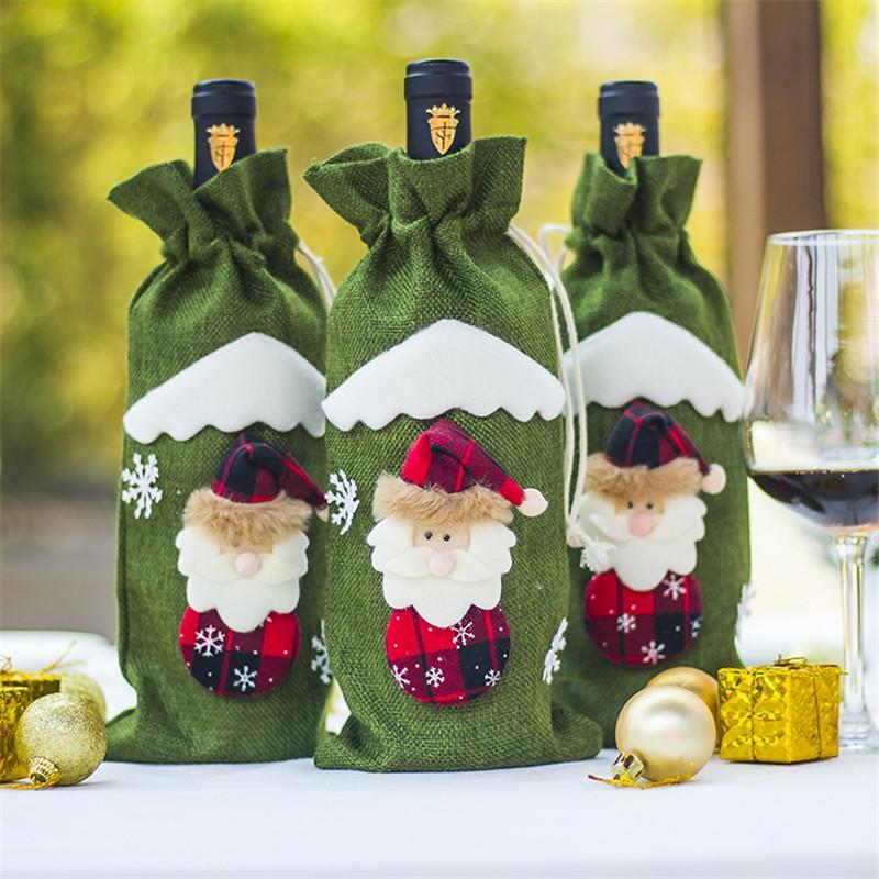 Rotwein Flasche Abdeckung Taschen Dekoration Home Party Santa Claus Weihnachten Verpackung Weihnachten Frohe Weihnachten Dekoration EA8