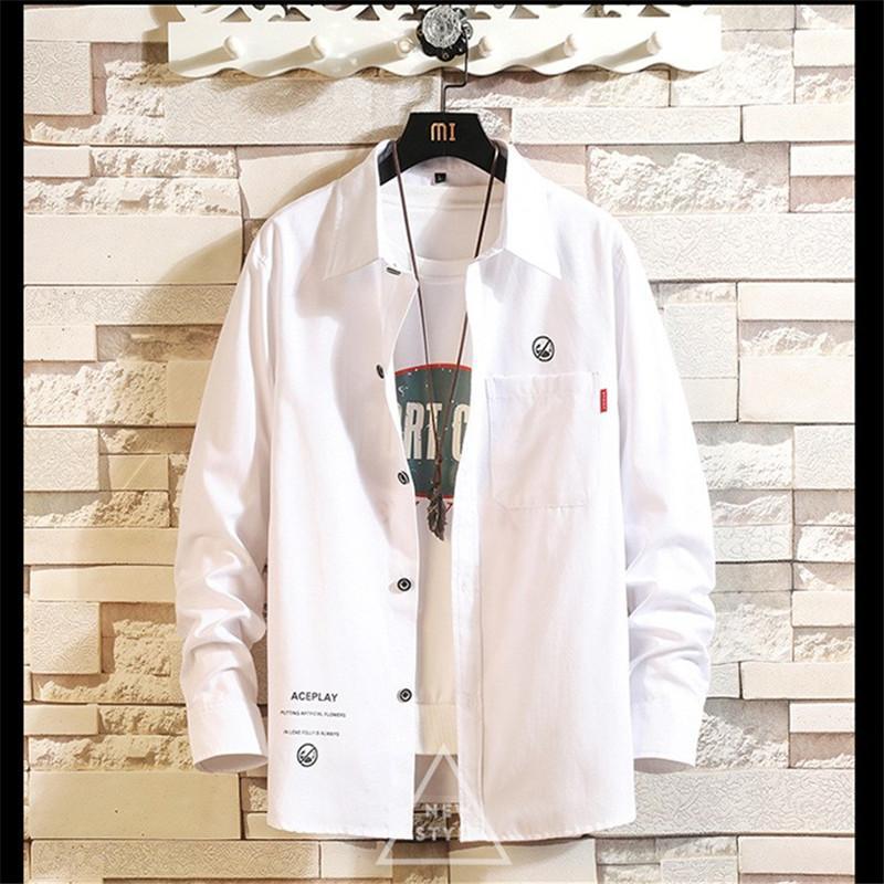 Mens Designer Shirts Turn Down Collar Shirts with Pocket Fashion Pure Color Long Sleeve Tees Mens Casual Clothing