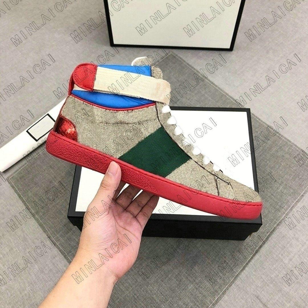 ACE High-Top Herren Leder bestickte Freizeitschuhe Grün Rot Streifen Italien Biene Luxurys Designer Sneakers Trainer Chaussures