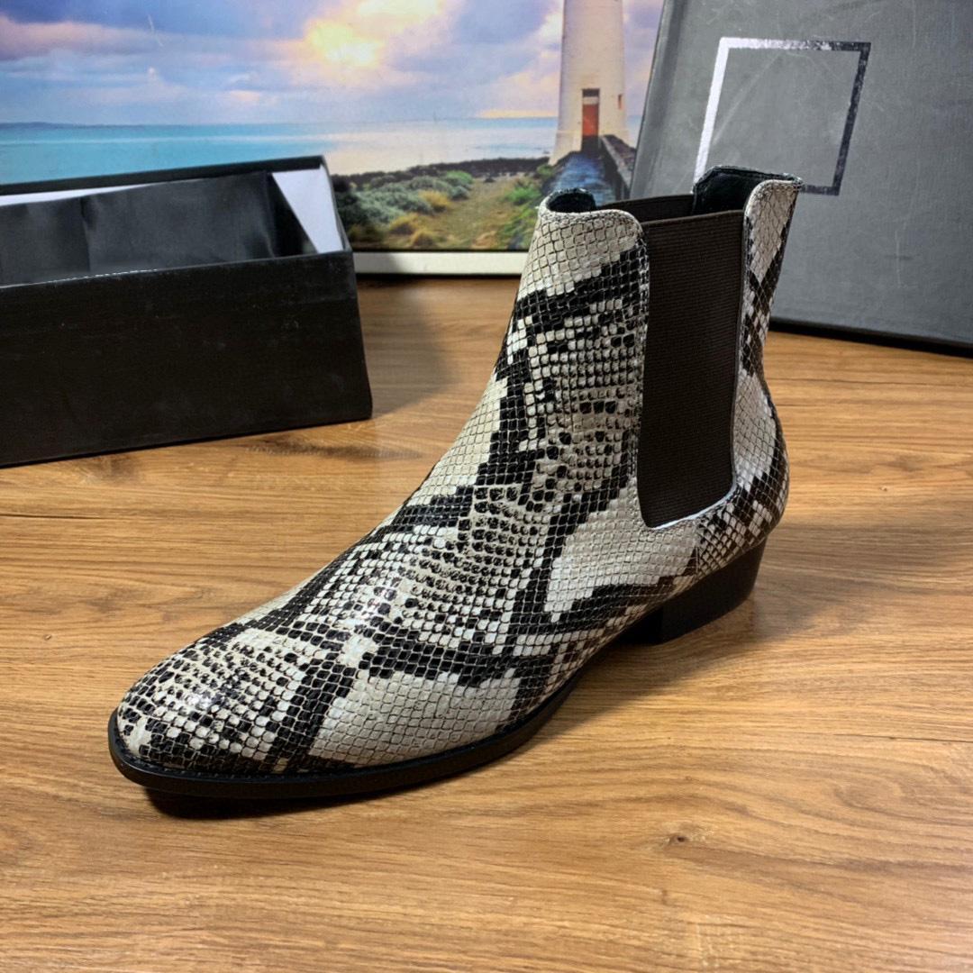 Herren Womens Designer Serpentine Stiefel Elastische Band Echtes Leder Schwarz Braune Ketten Martin Stiefel Luxus Boot Lady Flache Schuhe Ankle Boots