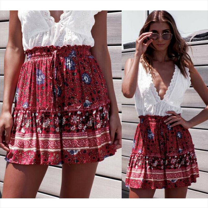 2020 Summer Womens New Boho Floral imprimé Mini Jupes plissées Lady Femme Casual Plage Partie Short Mini Robe