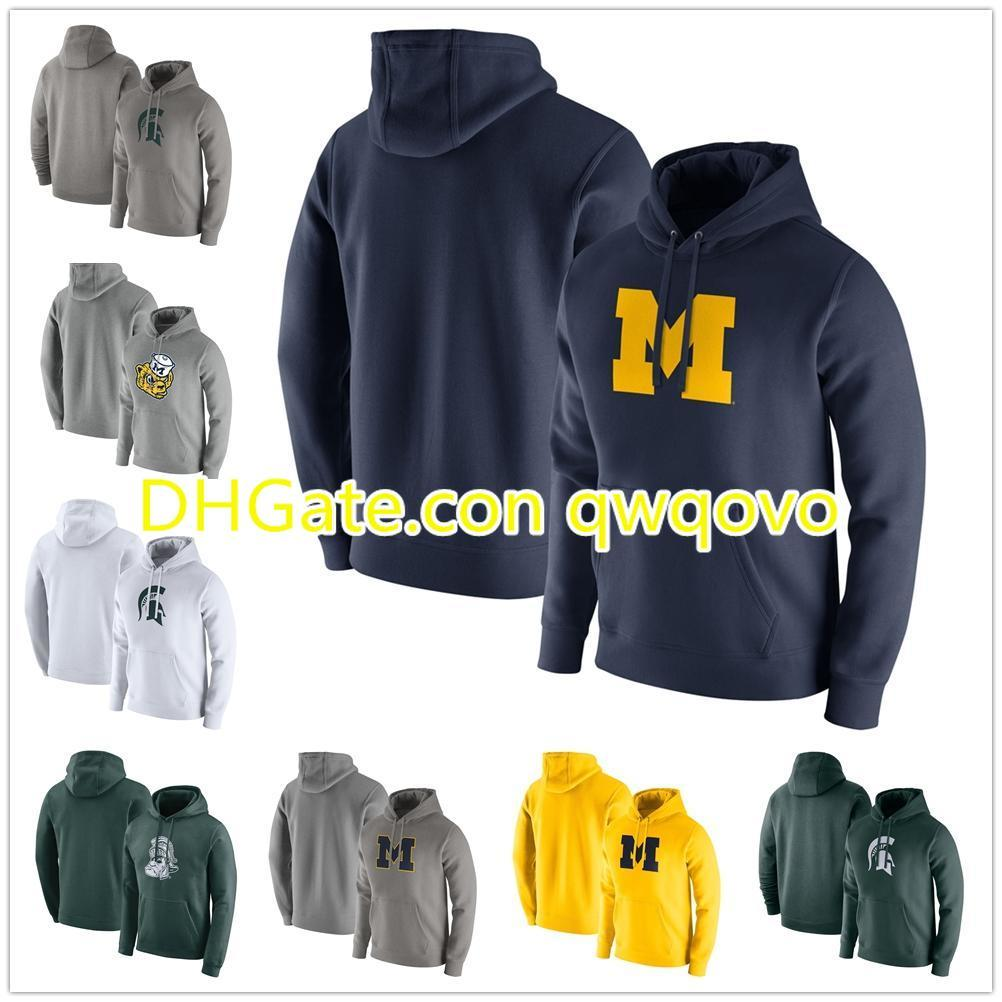 MichiganStateSpartans White Logo Club Fleece Pullover Hoodie Michigan Wolverines Maize Logo Club Fleece PulloverHoodie