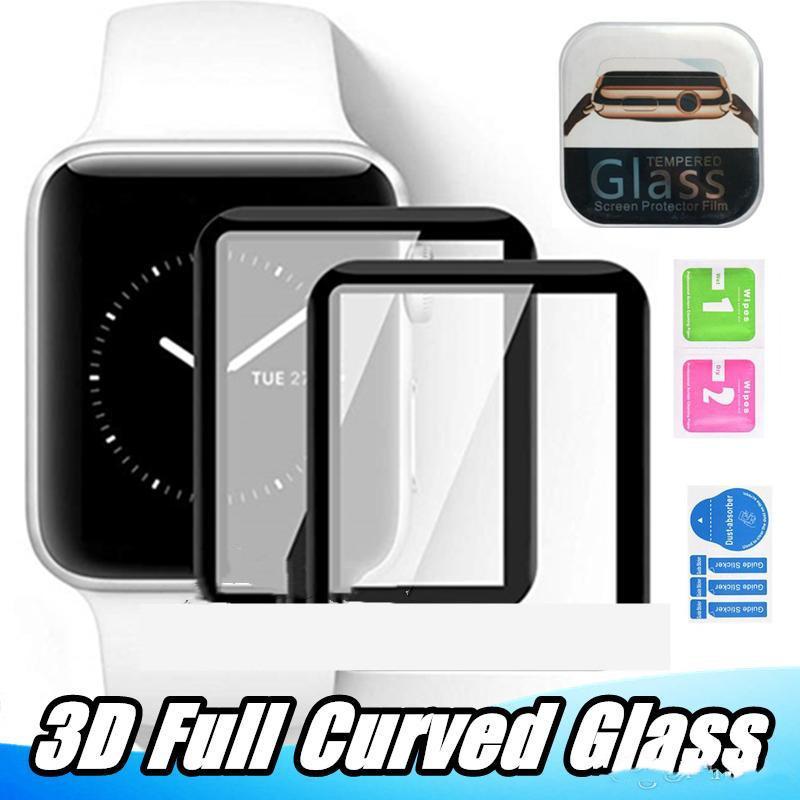 ل Apple Watch 6 SE 40 ملليمتر 44 ملليمتر 3d كامل منحنى الزجاج المقسى حامي الشاشة تغطية كاملة iwatch سلسلة 5 2 3 38 ملليمتر 42 ملليمتر فيلم الشاشة