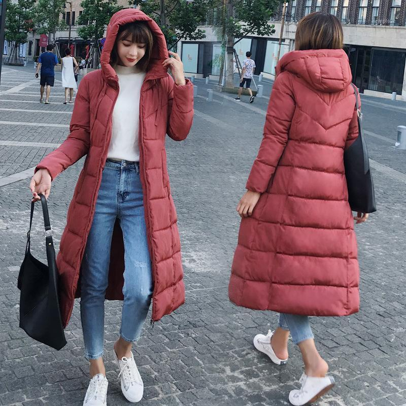 Мягкая женская новая новая корейская версия зимнего ветра Большой размер хлопчатобумажного хлопка MID длинный по колено хлопок мягкая куртка1