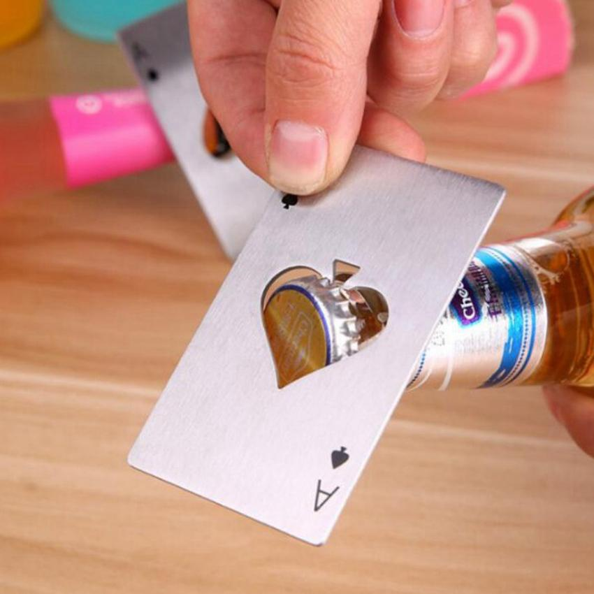 Cerveja garrafa abridor de cartão de poker abridor de cartão de aço inoxidável abridores barra ferramentas cartão de crédito Beber garrafa de cerveja abridor de presentes cozinha ferramentas cyz2954