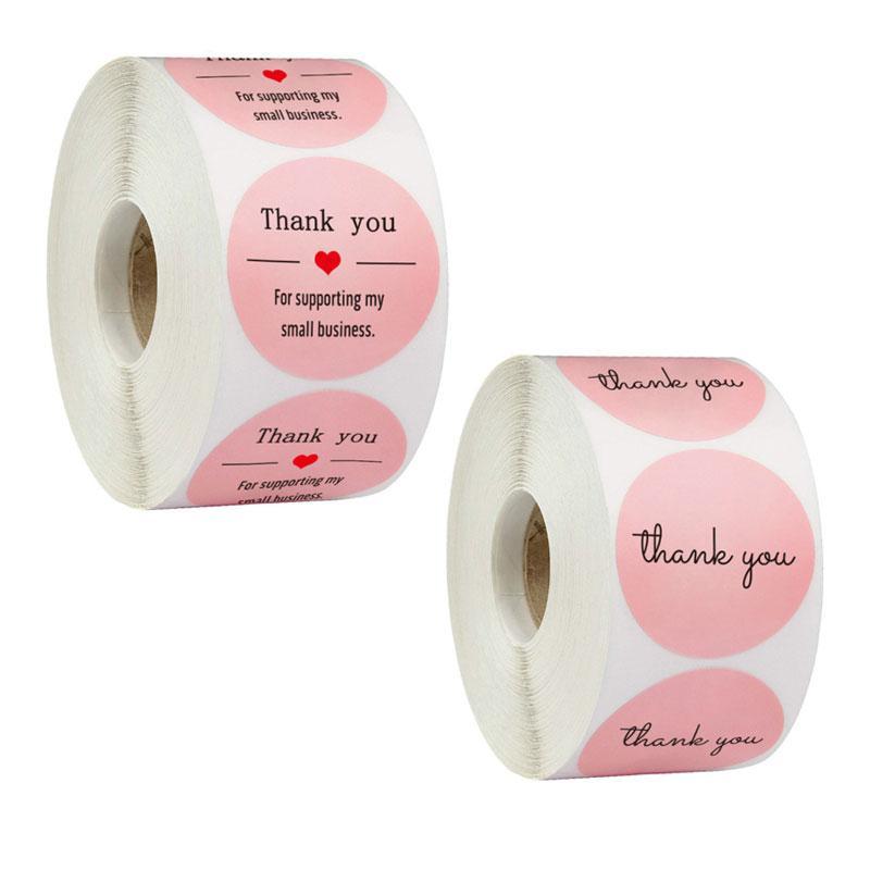500pcs 1inch Pink Paper Label Merci Autocollants pour enveloppe de mariage Papeterie à la main Papeterie à la main Cadeau d'affaires
