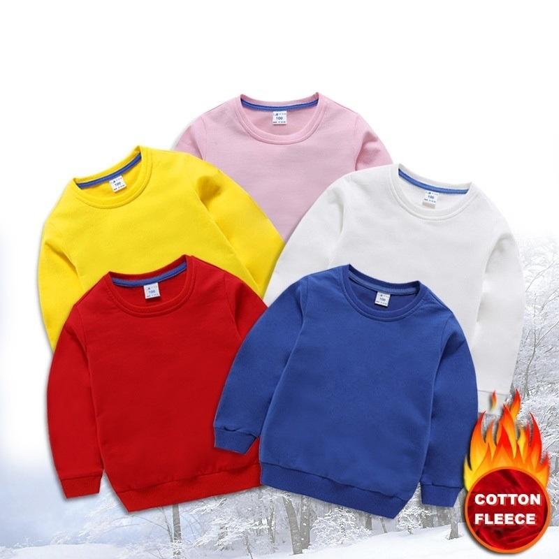 Toptan özel logo çocuklar düz boş 100% pamuk crewneck sweatshirt unisex büyük boy Fransız terry polerece sıcak tişörtü