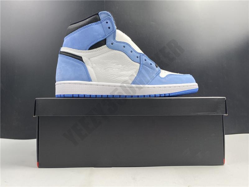 2021 con scatola High University Blue Silver Toe 1 1s OG High Pallacanestro da uomo Scarpe da basket 555088-134 Athletic Sneakers Size 40-47.5
