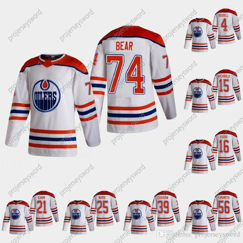 74 Ethan Bear 2021 Retro Retro Jersey Edmonton Oilers Kris Russell Josh Archibald Jujhar Khaira Dominik Kahun Darnell Nurse Caleb Jones
