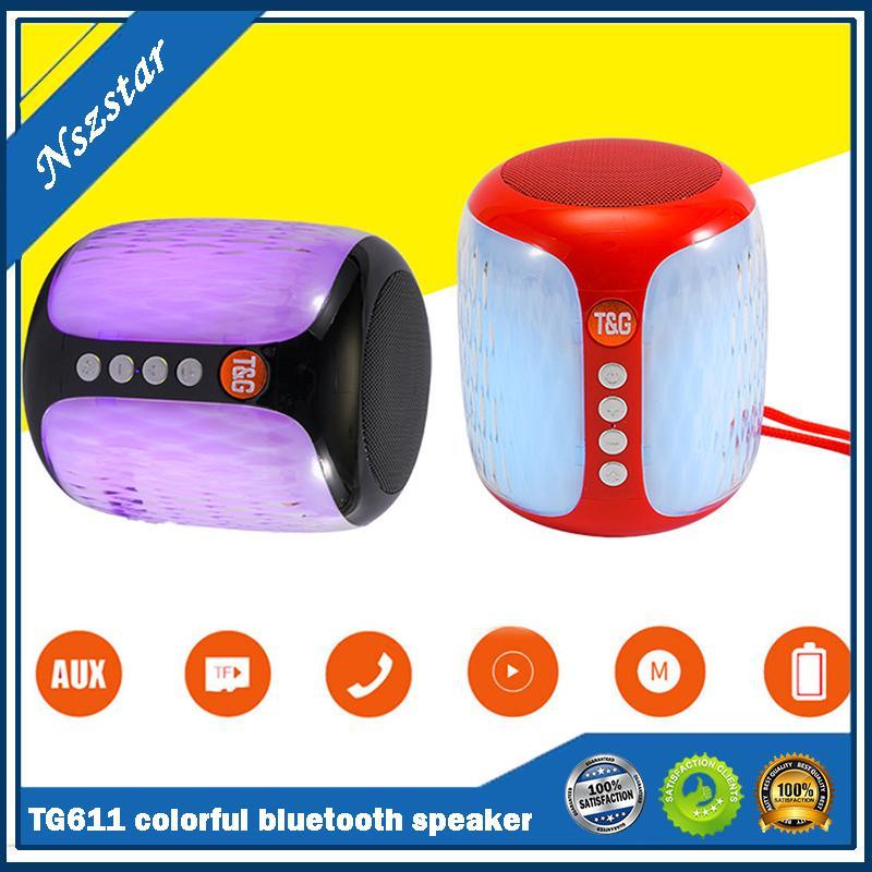 TG611 colorful lights wireless mini bluetooth speaker outdoor sports Battery capacity 500mAh portable column speaker subwoofer audio