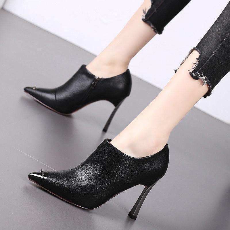 Stivali Donne Fashion Black Black Pointed Toe PU Leather Late Side Zipper Party Botas Femininas Night Club G6405C1
